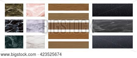 Floor Material. Realistic Texture Of Interior Cover. Parquet Boards. Marble Or Granite Tile. Laminat
