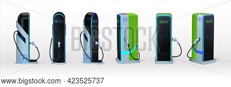 Car Charger. Realistic Electromobile Charging Station. View From Different Sides On 3d Equipment Set