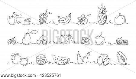 One Line Fruits. Exotic Food. Tropical Plants Borders Set. Contemporary Monoline Sketch. Juicy Melon