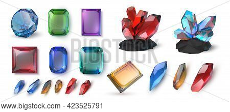 Realistic Gems. Precious Stones And Faceted Jewels. 3d Minerals Crystals. Brilliant Topaz And Amethy