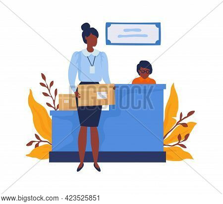 Woman Gets Parcel In Postal Office. Cartoon Female Sends Mail. Postman Sits At Reception Desk. Expre