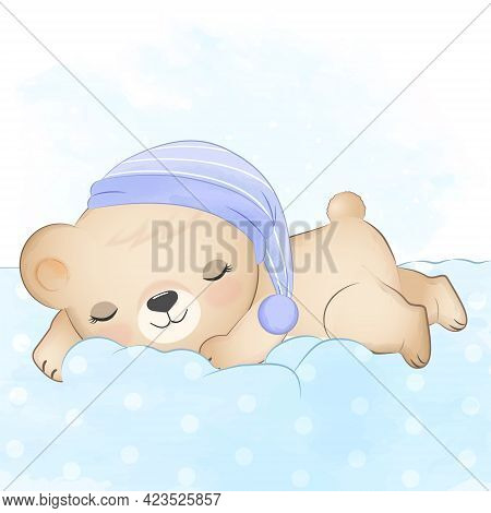 Teddy Bear Sleeping On Blue Watercolor Background, Illustration For Greeting Card, Shower Card