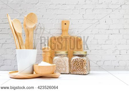 Kitchen Tools And Kitchenware Utensil Object With Ingredients And Mix Nut On Kitchen Shelf Wood Whit