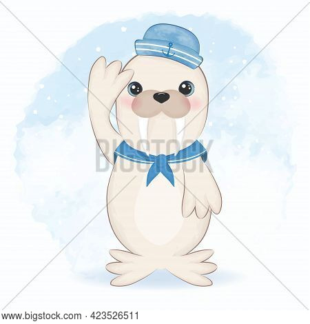Cute Walrus Sailor Cartoon Arctic Animal Watercolor Illustration