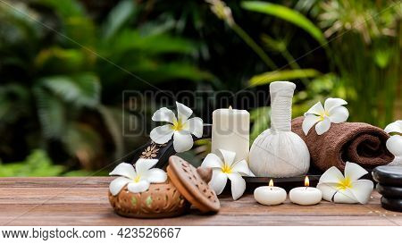 Thai Spa.  Massage Spa Treatment Aroma For Healthy Wellness And Relax. Spa Plumeria Flower For Body