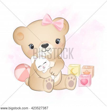 Cute Little Bear With Bunny And Baby Toy Hand Drawn Illustration