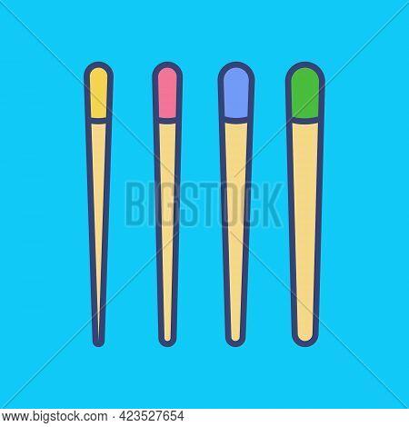 Endodontics Gutta-percha Cones Color Icon. Gutta Percha Pellets In Set Different Sizes For Obturatio