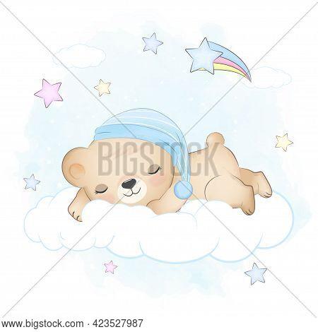 Teddy Bear Sleeping On The Cloud Blue Watercolor Background