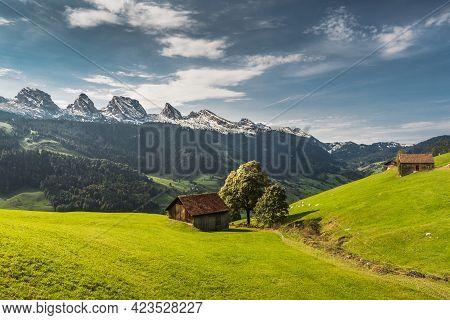 View Of The Churfirsten, Alpine Landscape With Pasture Land And Alpine Huts, Canton St. Gallen, Swit