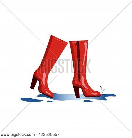 Red Rubber High Boots Splash Through Puddles, Isolated On A White Background. Stylish Shoes For Autu