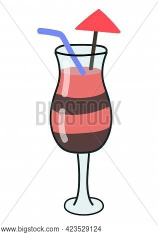 Cocktail Drink With Fruits And Chocolate Isolated On White Background