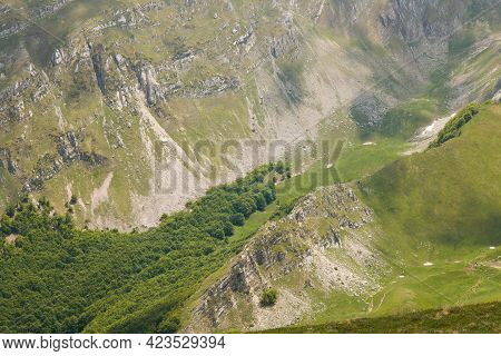Panoramic View From Monte Bove Sud In The National Park Of Monti Sibillini During Spring Day Of June
