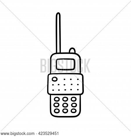 Hand Drawn Portable Radio Transmitter Icon. Children Drawing Of A Walkie Talkie. Vector Illustration