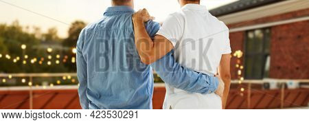 lgbt, homosexuality and people concept - close up of happy male gay couple or friends hugging from back over roof top party background