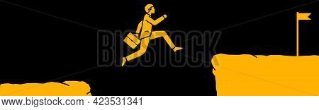 Vector Illustration Of A Businessman Jumping Off A Cliff, Overcoming Obstacles In His Path And Reach