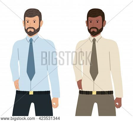 Self Confident Bearded Businessman Of Caucasian And African American Ethnicity. Employee Character I