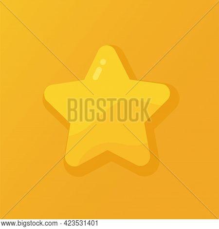Vector Illustration Of A Shiny Gold Star On An Orange Background. Rank, Rating Or Favorite Symbol.