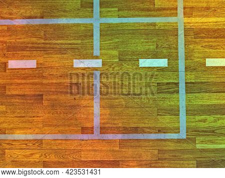 White Lines On Wooden Floor In Gymnasium Gym Hall.  Abstract.