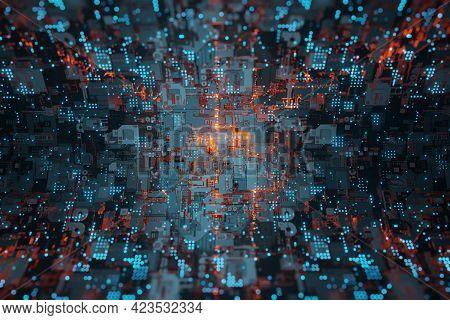 Futuristic Sci-fi Alien Space Ship Glowing Light Wall 3d Rendering Alien; Space; Futuristic; Interio