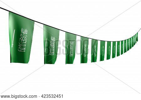 Nice Many Saudi Arabia Flags Or Banners Hangs Diagonal With Perspective View On Rope Isolated On Whi
