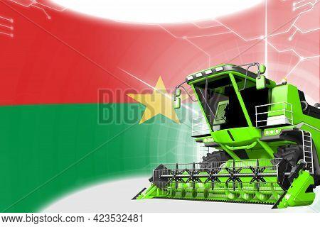 Agriculture Innovation Concept, Green Advanced Rural Combine Harvester On Burkina Faso Flag - Digita