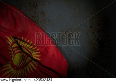 Beautiful Dark Illustration Of Kyrgyzstan Flag With Big Folds On Rusty Metal With Free Space For You
