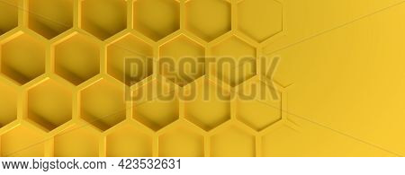 Abstract Modern Yellow Honeycomb Background, 3d Rendering