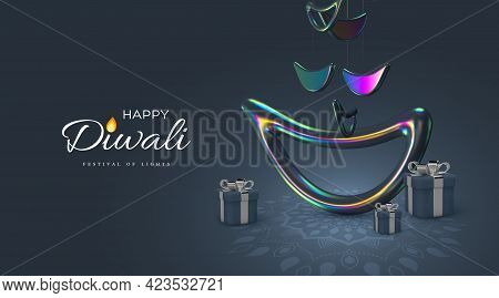 Diwali Festival Of Lights Holiday Design With Realistic Style Of Indian Diya Lamp In Iridescent Colo