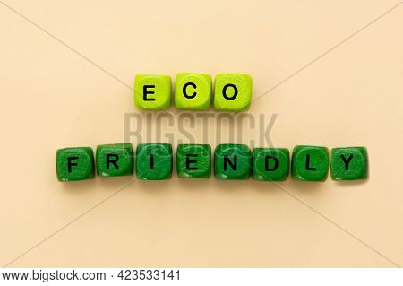 Eco Word On Wood Blocks, Eco Friendly Concept, Flat Lay. Zero Waste.