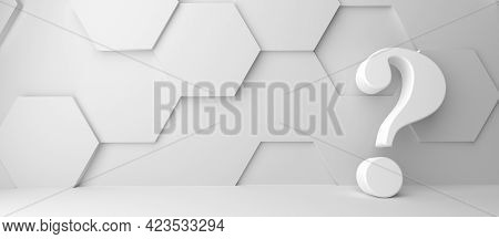 Fine 3d Concept With A White Question Mark Icon In A Modern White Hexagon Room With Space For Text