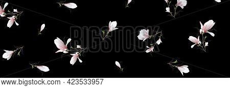 Realistic Magnolia Flower, 3d Banner. The Magnolia Branch Is A Symbol Of Spring, Summer In The Style