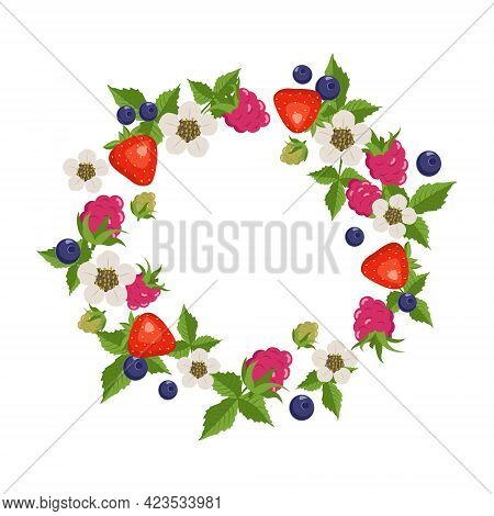 Frame With Raspberries, Strawberries, Blueberries, Leaves And Flowers On A White Background. Round W