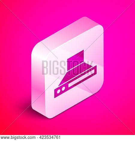 Isometric Kitchen Extractor Fan Icon Isolated On Pink Background. Cooker Hood. Kitchen Exhaust. Hous