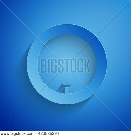 Paper Cut Bicycle Wheel Icon Isolated On Blue Background. Bike Race. Wheel Tire Air. Sport Equipment