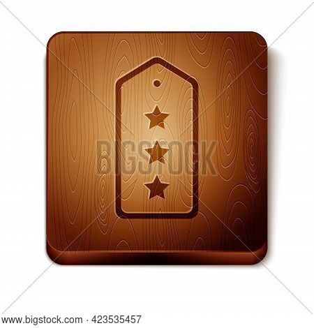 Brown Military Rank Icon Isolated On White Background. Military Badge Sign. Wooden Square Button. Ve