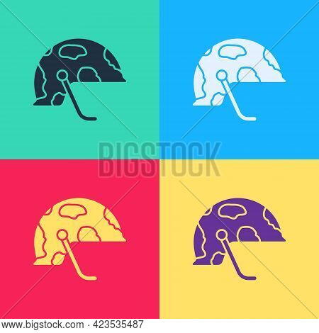 Pop Art Military Helmet Icon Isolated On Color Background. Army Hat Symbol Of Defense And Protect. P