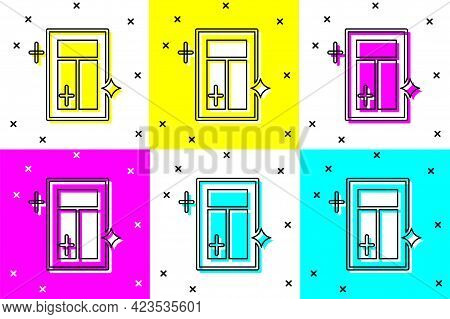 Set Cleaning Service For Window Icon Isolated On Color Background. Squeegee, Scraper, Wiper. Vector