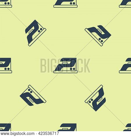 Blue Electric Iron Icon Isolated Seamless Pattern On Yellow Background. Steam Iron. Vector