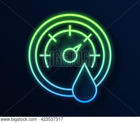 Glowing Neon Line Sauna Thermometer Icon Isolated On Blue Background. Sauna And Bath Equipment. Vect