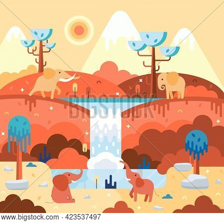 Four Elephants In Flat Cartoon Stile - Africa Landscape With Animals At The Watering Hole
