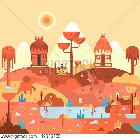 Wooden Huts Stand On A Hill, Elephants And Pink Flamingo, African Landscape - Flat Cartoon Illustrat