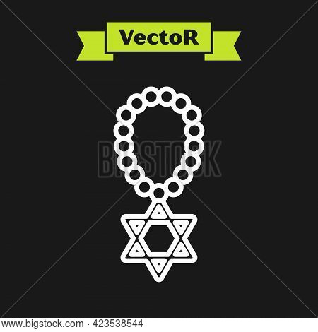 White Line Star Of David Necklace On Chain Icon Isolated On Black Background. Jewish Religion Symbol