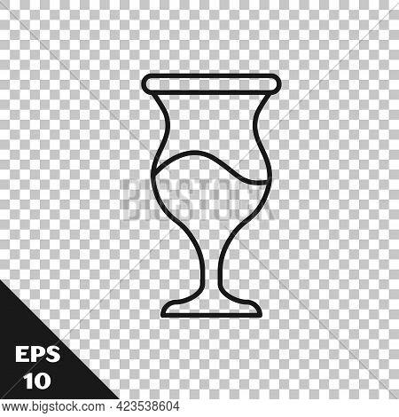 Black Line Jewish Goblet Icon Isolated On Transparent Background. Jewish Wine Cup For Kiddush. Kiddu