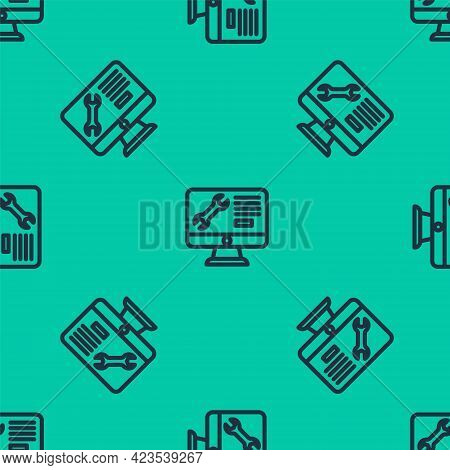 Blue Line Computer Monitor With Wrench Icon Isolated Seamless Pattern On Green Background. Adjusting