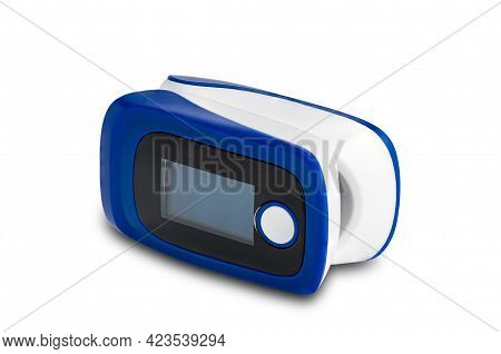 Side View Of Pulse Oximeter Isolated On White Background With Clipping Path. Pulse Oximeter, The Dev