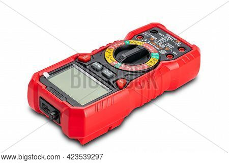 High Angle View Of Red Portable Digital Multimeters Or Multitester Isolated On White Background With