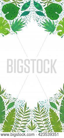 Vertical Card With Pattern With Monstera, Banana And Liana Leaves And Copy Space On White Background