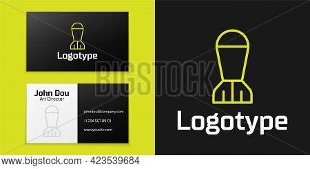 Logotype Line Aviation Bomb Icon Isolated On Black Background. Rocket Bomb Flies Down. Logo Design T