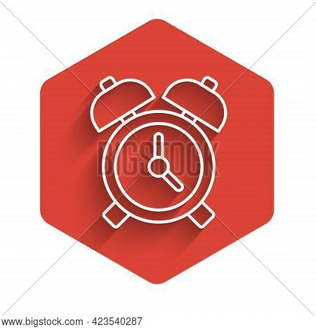 White Line Alarm Clock Icon Isolated With Long Shadow. Wake Up, Get Up Concept. Time Sign. Red Hexag