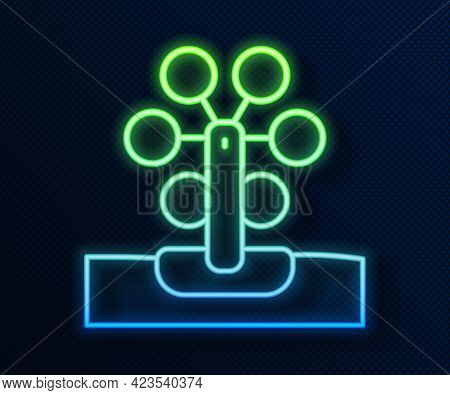 Glowing Neon Line Ferris Wheel Icon Isolated On Blue Background. Amusement Park. Childrens Entertain